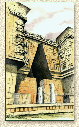 Mayan illustration of Uxmal by Steve Radzi