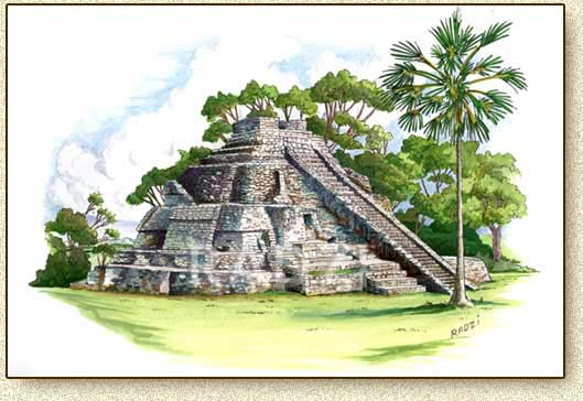 Mayan illustration of Calakmul by Steve Radzi