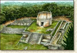 Mayan illustration of Mayapan by Steve Radzi